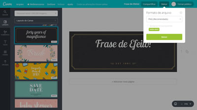 Tutorial Canva Salvar Arquivo